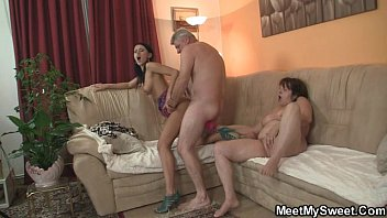 His girl seduced by granny and old daddy